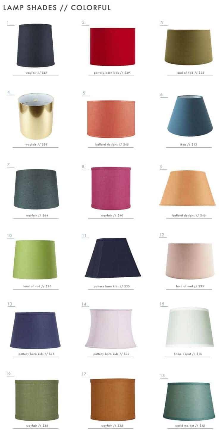 Màu sắc chụp đèn vải